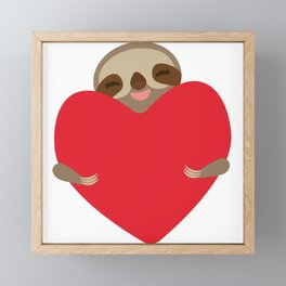 Valentines day card. Funny sloth with a red heart Framed Mini Art Print