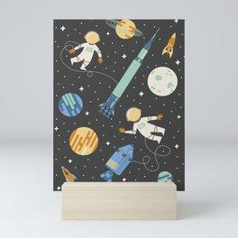 Lunar Spacewalk - Blue + Orange Mini Art Print