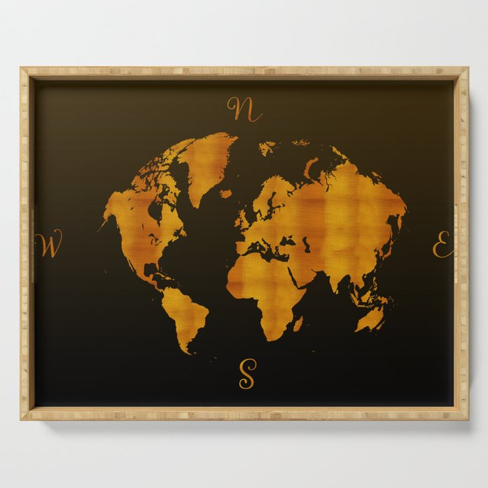 MODERN GRAPHIC ART World Map    Redgold Serving Tray