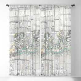 sketch_temple Sheer Curtain