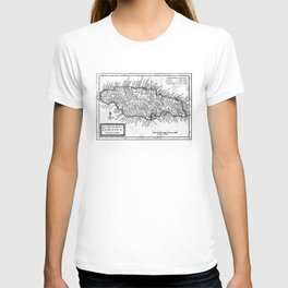 Vintage Map of Jamaica (1771) BW T-shirt