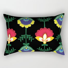 Colorful Ethnic Folk Flowers Rectangular Pillow