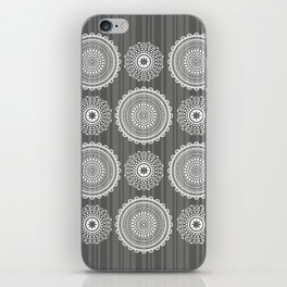 Circles on dark grey. Bold symmetrical pattern. iPhone Skin