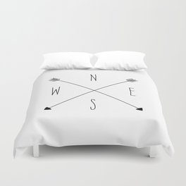 Compass - North South East West - White Duvet Cover