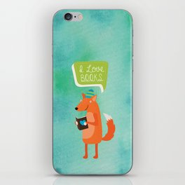 Woodland Creatures series: Fox Loves Books iPhone Skin