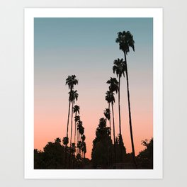 California Sunset // Palm Tree Silhouette Street View Orange and Blue Color Sky Beach Photography Art Print