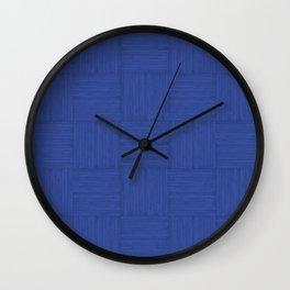 Blue Faux Bois Wood Pattern Wall Clock