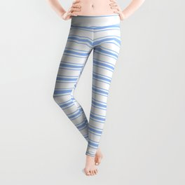 Mattress Ticking Wide Striped Pattern in Pale Blue and White Leggings