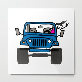 Jeep Wave Girl - Blue Metal Print