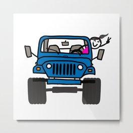 Jeep Wave Girl - Blue Metal Print