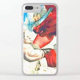 Battle with red wolf Clear iPhone Case
