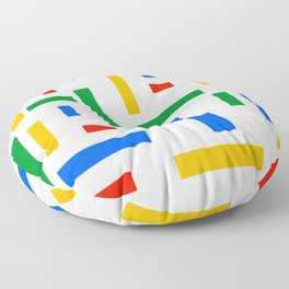 Abstract Google Art Red Green Blue Yellow on White Floor Pillow