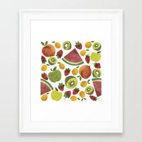 fruits Framed Art Prints featuring fruits by Ana Rey