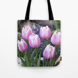 Spring gathering of pink tulips Tote Bag