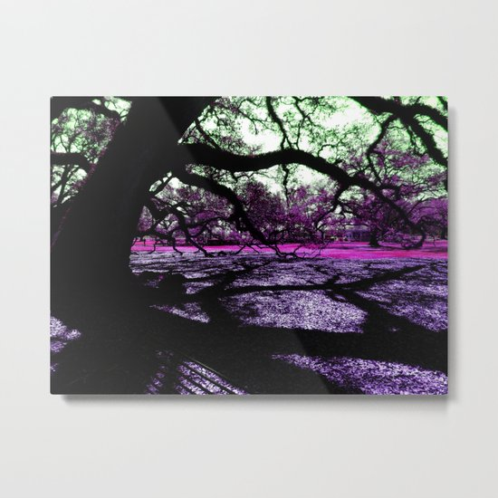 Oak Shadows Pink Metal Print