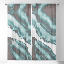 Turquoise Brown Agate #1 #gem #decor #art #society6 Sheer Curtain