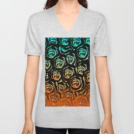 rose pattern texture abstract background in blue green orange Unisex V-Neck