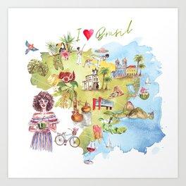Brasil Map Art Print