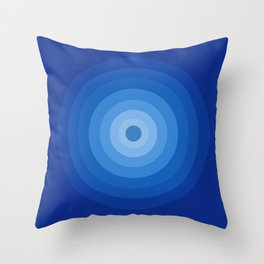 Blue Retro Bullseye Throw Pillow