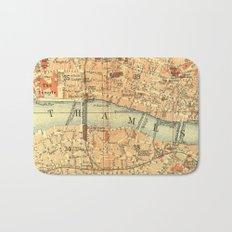 Vintage Map London South Bank Thames Bath Mat