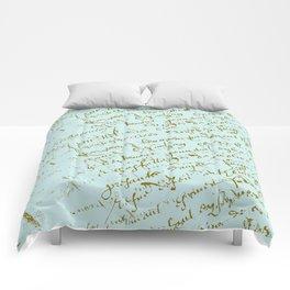 French Script on Paris Blue Comforters