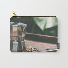 Coffee maker pot and cups on tropical leaves background Carry-All Pouch