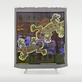 Geckos in the Night / Perenquen Shower Curtain