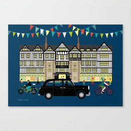 Art Print of Liberty of London Store - Night with Black Cab Canvas Print