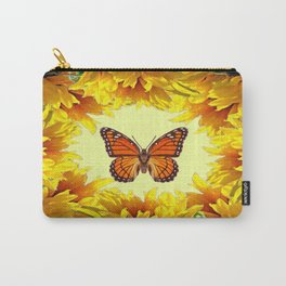 Monarch Butterfly Creany Yellow Sunflower Circle Carry-All Pouch