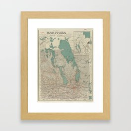 Vintage Map of Manitoba (1915) Framed Art Print