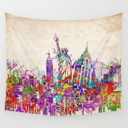 New York skyline colorful collage Wall Tapestry