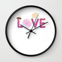 Namaste Love bee lotus yoga woman flower mom Wall Clock