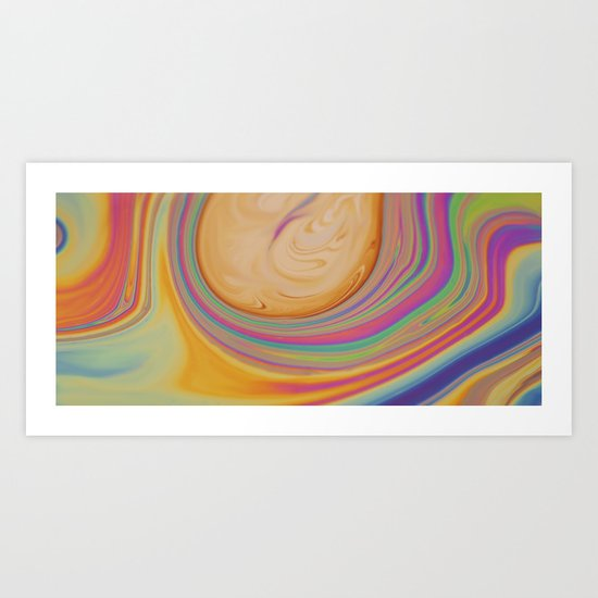 caramel and pastel swirl - soap and water abstract Art Print