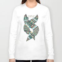 feathers Long Sleeve T-shirts featuring Soulmate Feathers by Pom Graphic Design