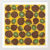 kiwi Art Prints featuring Kiwi by Nemki