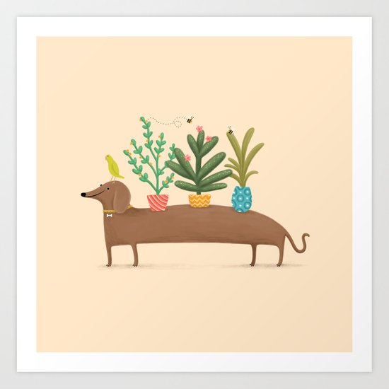 Dachshund & Parrot by sophiecorrigan