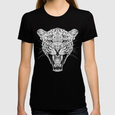 Leopard LARGE Womens Fitted Tee Black