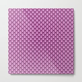 Gleaming Pink Metal Scalloped Scale Pattern Metal Print