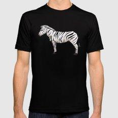 Geometric Zebra MEDIUM Black Mens Fitted Tee