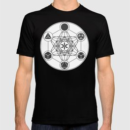 Metatron's Cube with Platonic Solids and Seed of Life T-shirt