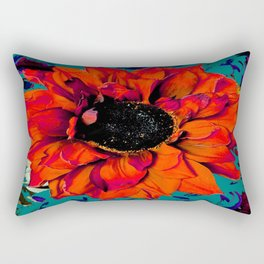Orange Sunflower & Teal Contemporary Abstract Rectangular Pillow
