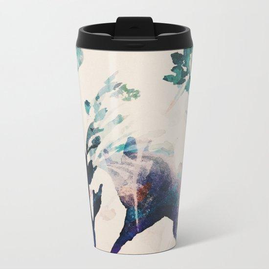 Watercolor Flowers on canvas Metal Travel Mug