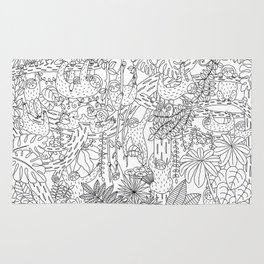 Happy Sloths Jungle - Line Art Rug