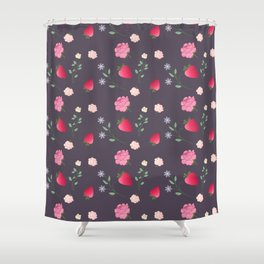Charming Strawberry and Flower Pattern(purple) Shower Curtain