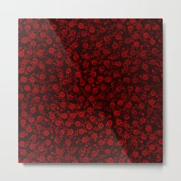 Red Washed Flowers Metal Print