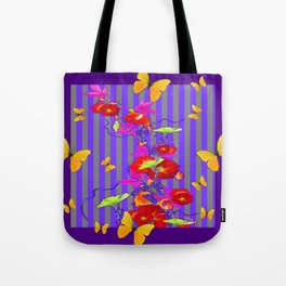 GOLDEN BUTTERFLIES &  RED FLOWER GARDEN Tote Bag