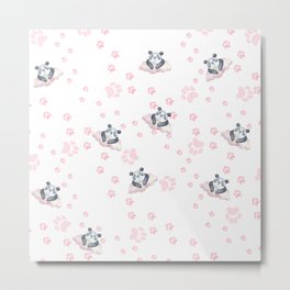 Blush pink black white panda animal paw's pattern Metal Print