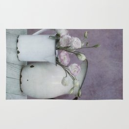 Shabby French chic-vintage metal jugs with flowers Rug