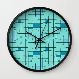 Intersecting Lines in Mint and Blues Wall Clock
