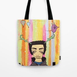 City Boy With Antlers Tote Bag